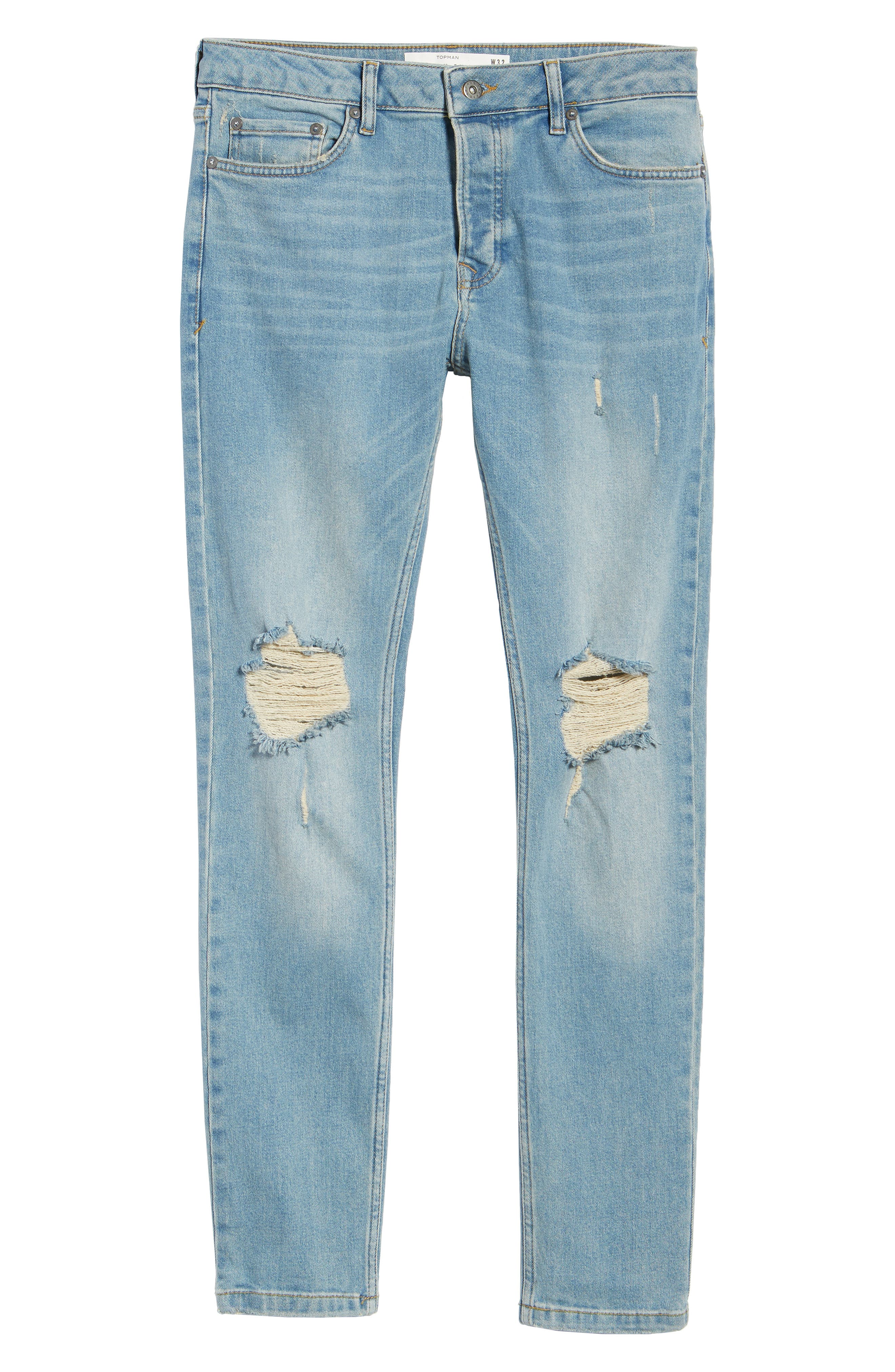 ,                             Ripped Stretch Skinny Jeans,                             Alternate thumbnail 7, color,                             LIGHT WASH DENIM