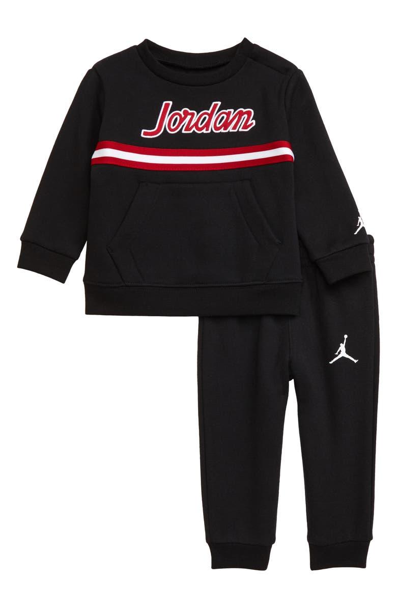 JORDAN Tape Fleece Sweatshirt & Sweatpants Set, Main, color, BLACK