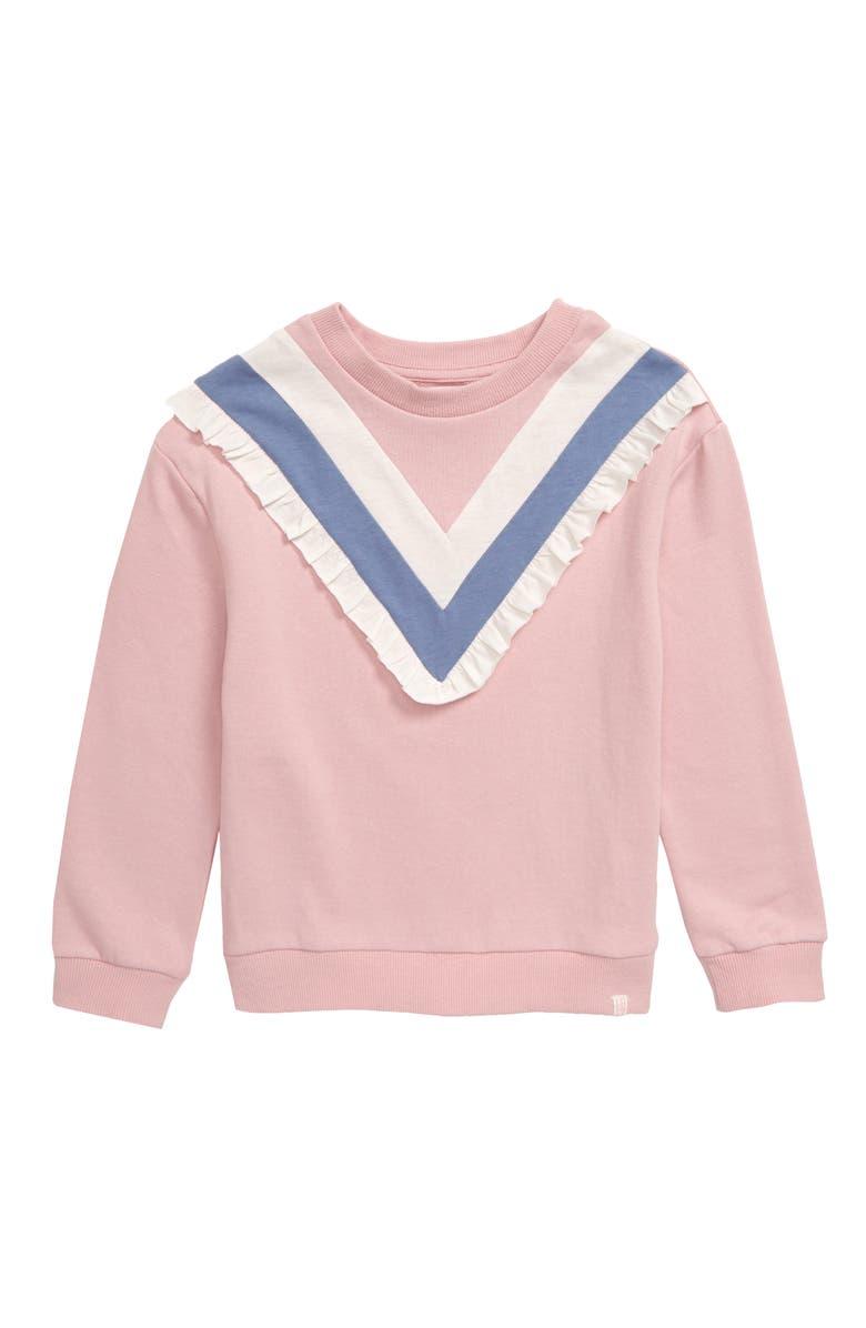 SOVEREIGN CODE Aisha Ruffle Sweatshirt, Main, color, BLUSH
