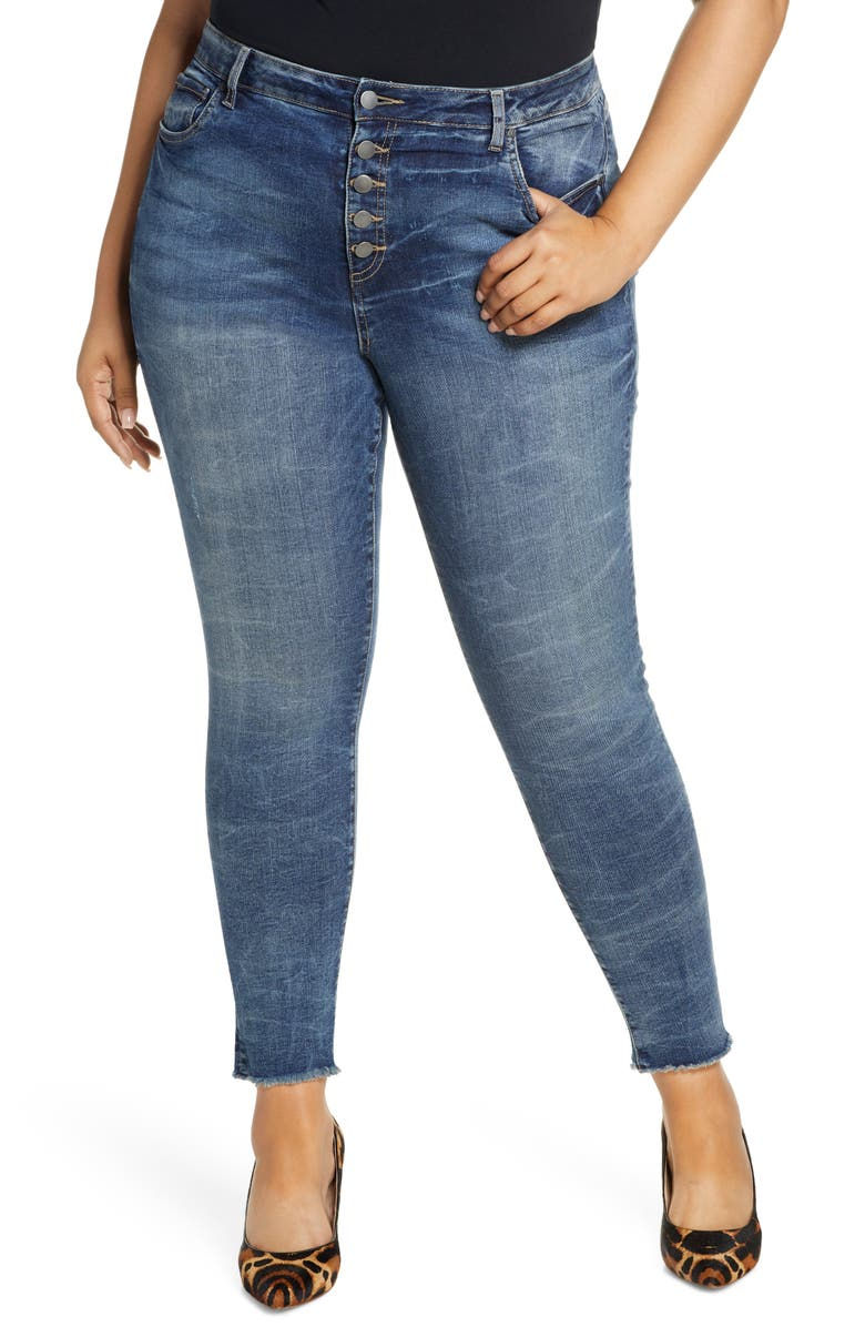 KUT FROM THE KLOTH Donna Exposed Button Fly Raw Hem Skinny Jeans, Main, color, 400