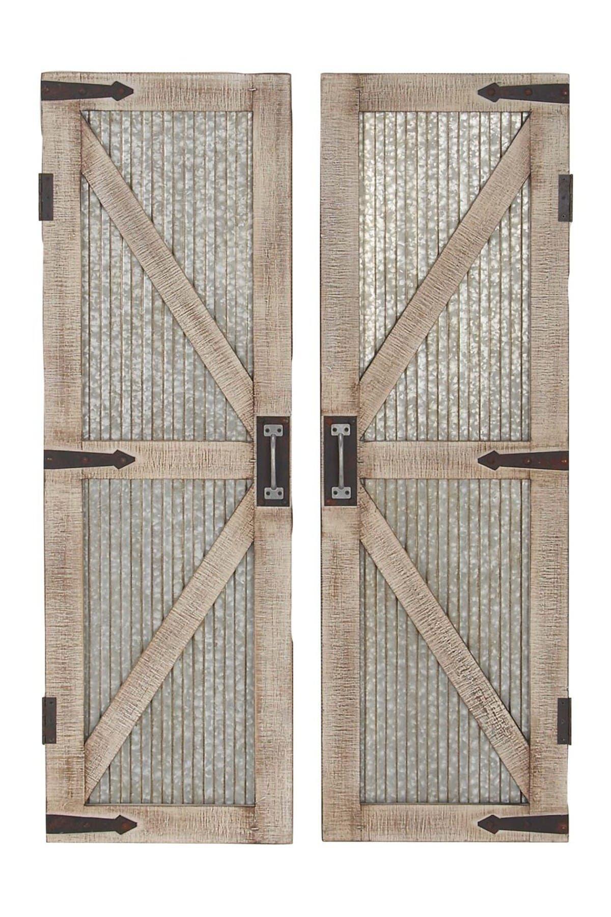 Image of Willow Row Wood Metal Barn Door - 2-Piece Set