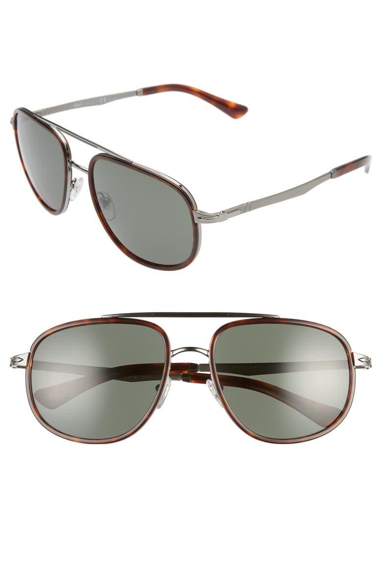PERSOL 57mm Polarized Aviator Sunglasses, Main, color, BROWN/ POLAR GREEN