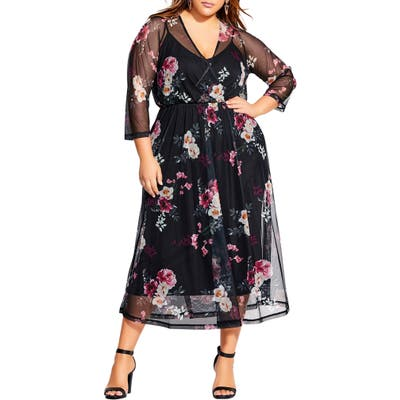 Plus Size City Chic Sheer Floral Midi Dress, Black