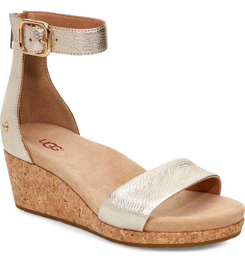 UGG<SUP>®</SUP> Zoe II Metallic Wedge Sandal, Main, color, GOLD LEATHER