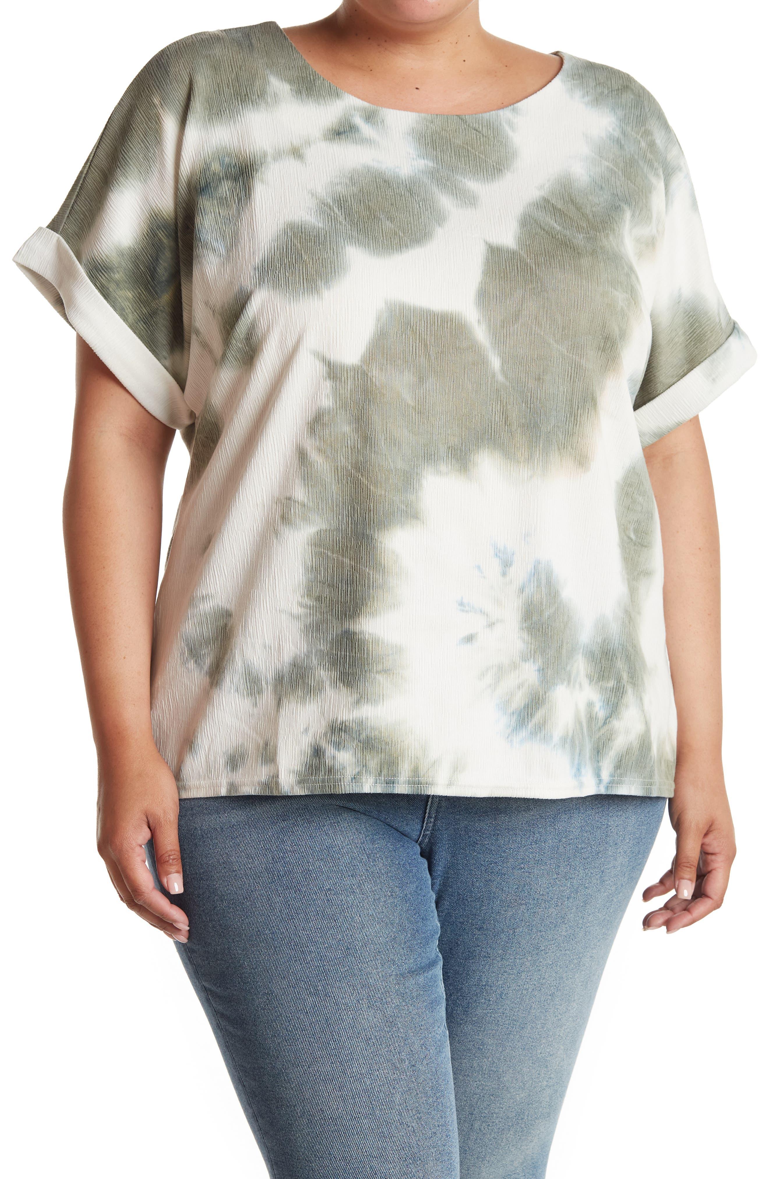 Melloday Tie Dye Round Neck T-shirt In Open Green21