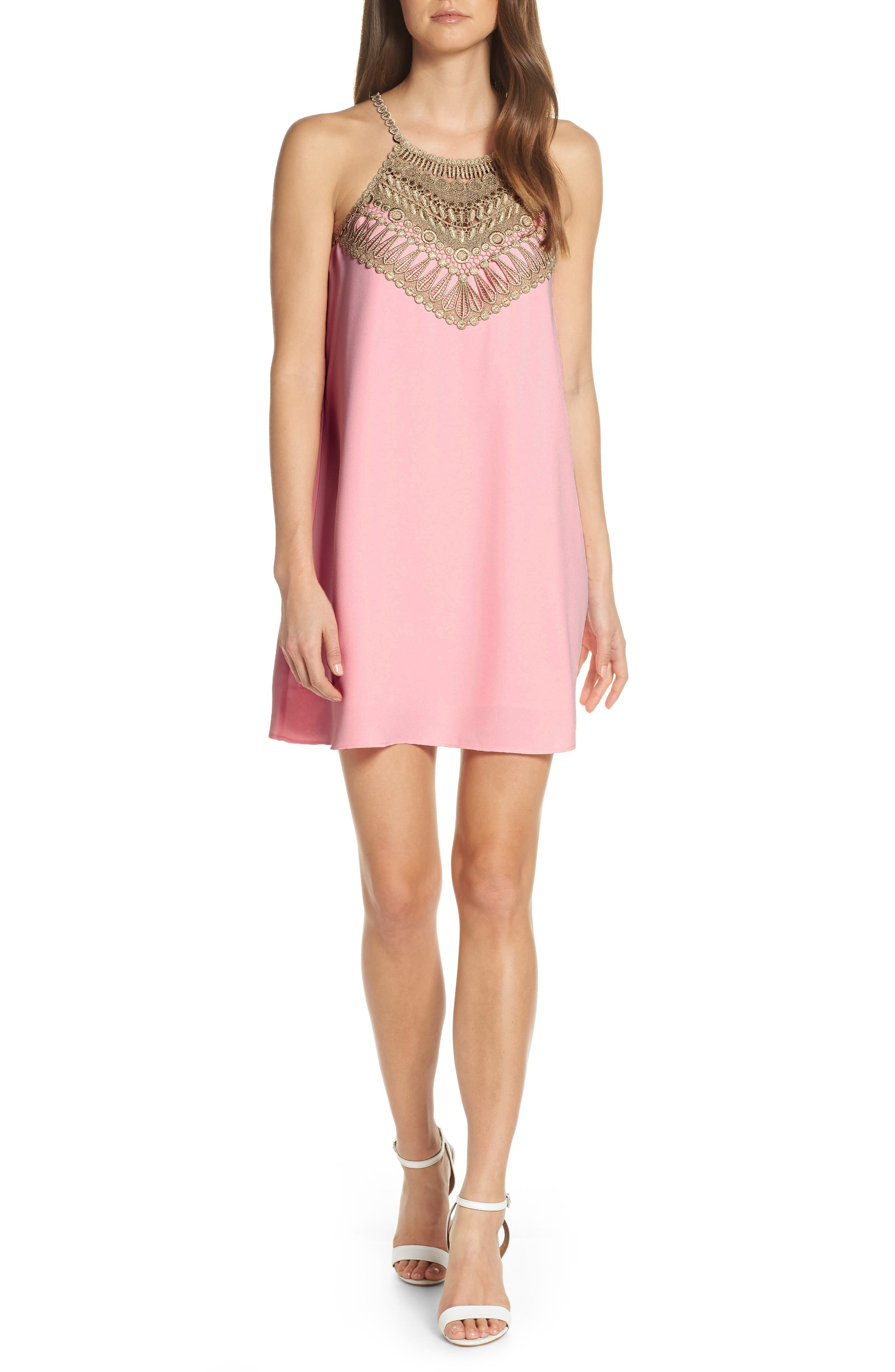 Lilly Pulitzer Embroidered Yoke Shift Dress, Coral