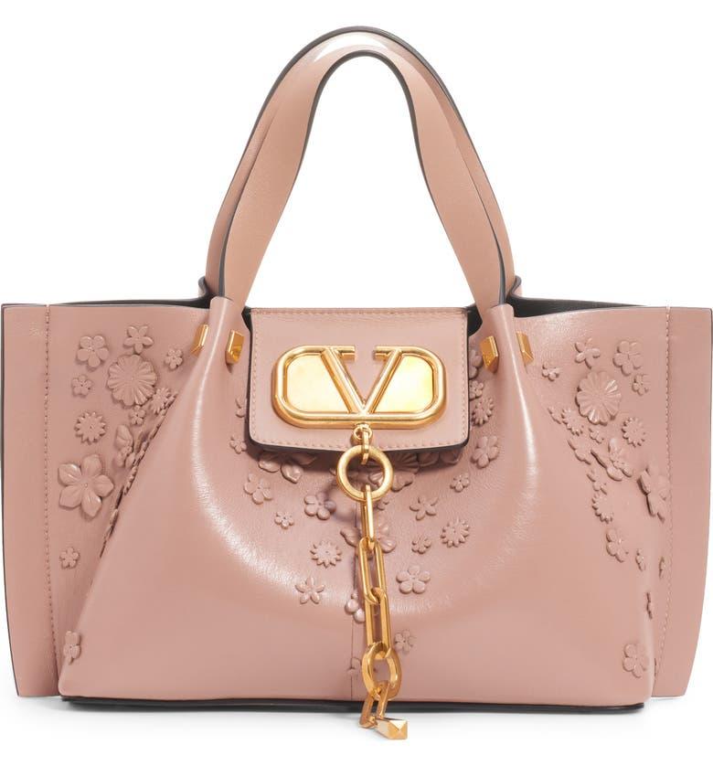 VALENTINO GARAVANI Small Go Logo Escape Floral Leather Tote, Main, color, ROSE CANNELLE/ FOD GRAPHITE