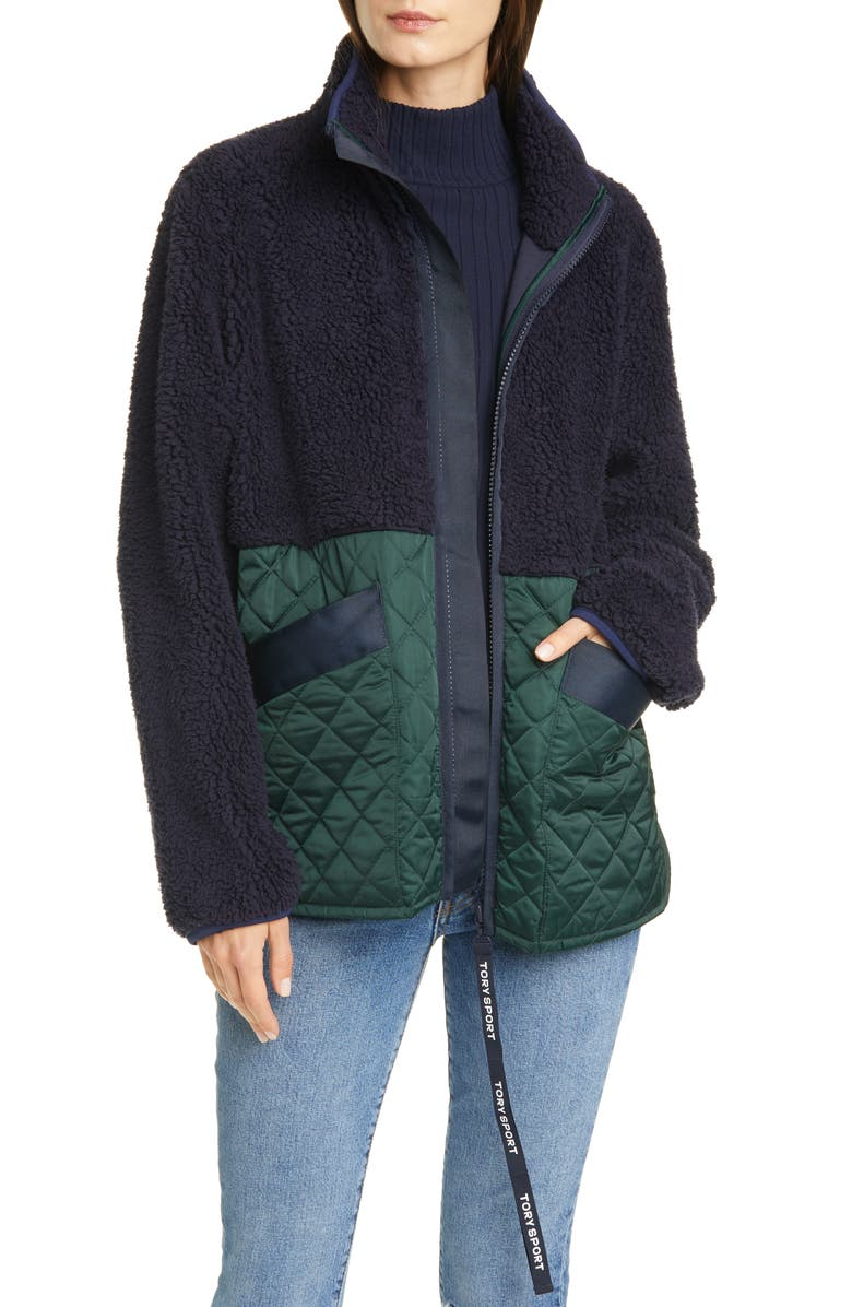 TORY SPORT BY TORY BURCH Tory Sport Quilted Contrast Fleece Jacket, Main, color, 467