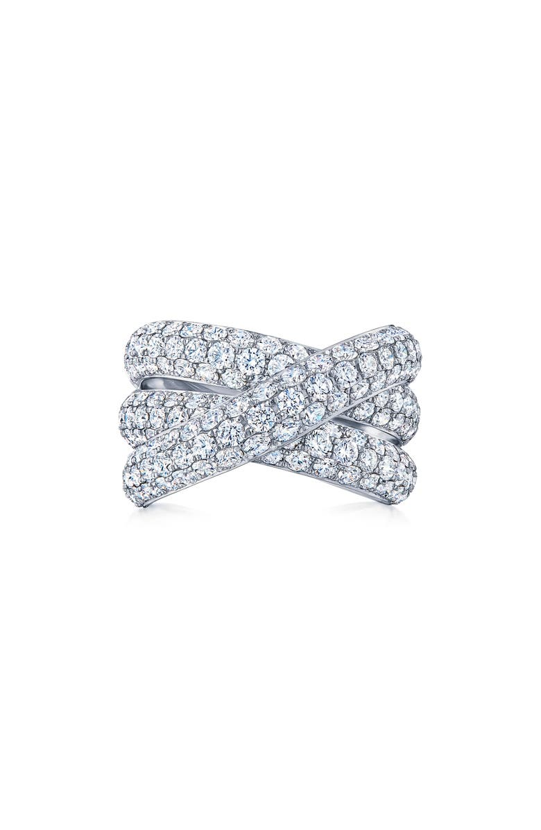 KWIAT Moonlight Three-Row Diamond Crossover Band, Main, color, WHITE GOLD