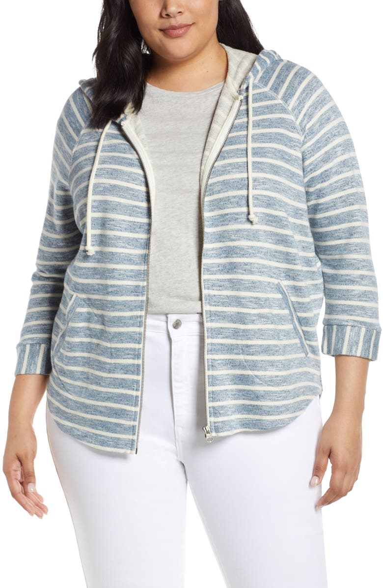 LUCKY BRAND Stripe Hoodie, Main, color, BLUE MULTI