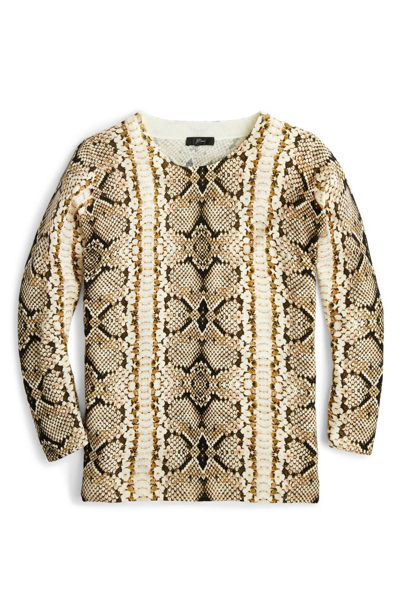 J.CREW Tippi Snake Print Sweater, Alternate, color, CARAMEL SNAKE