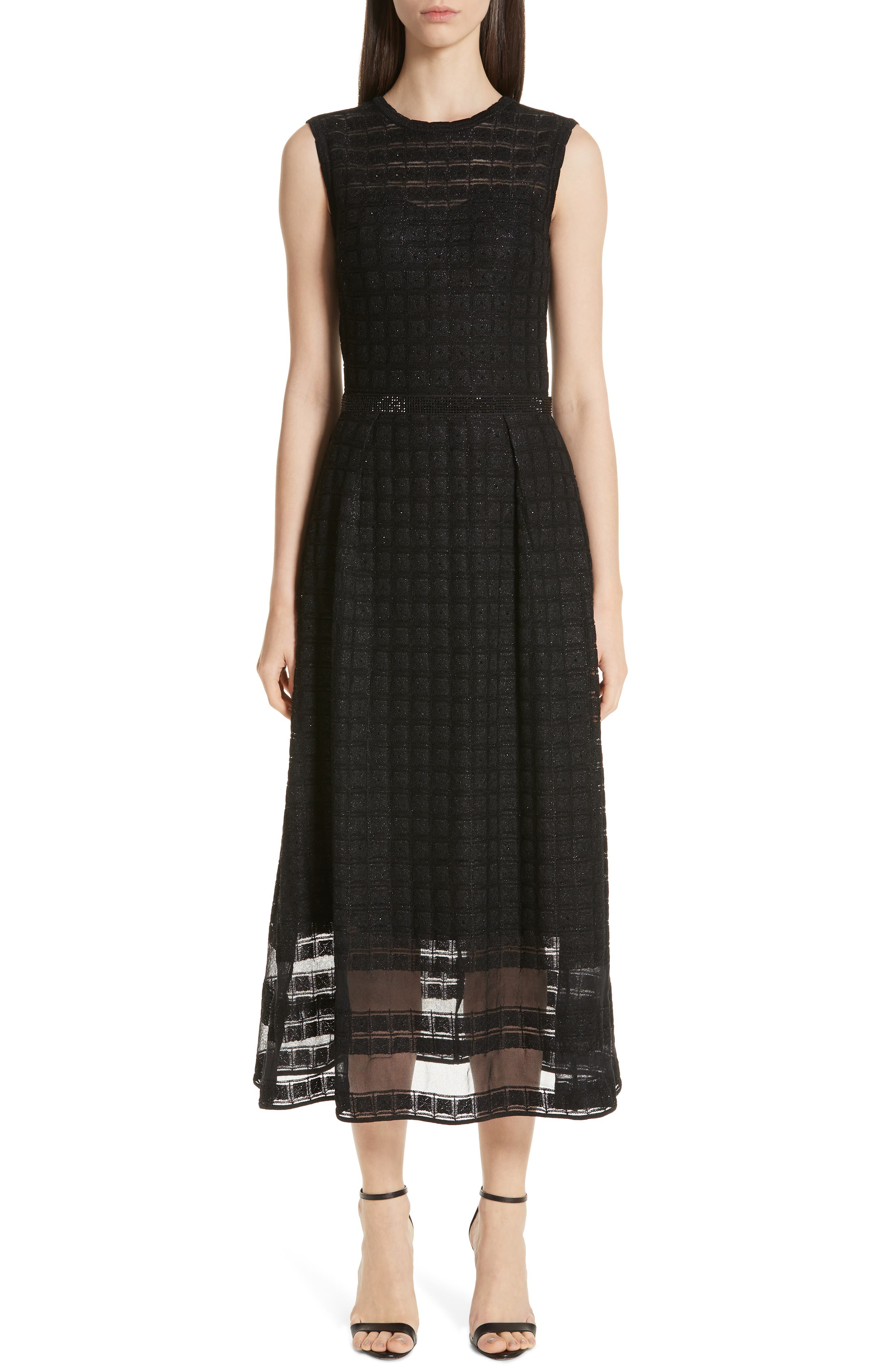 St. John Collection Addison Knit Midi Dress, Black