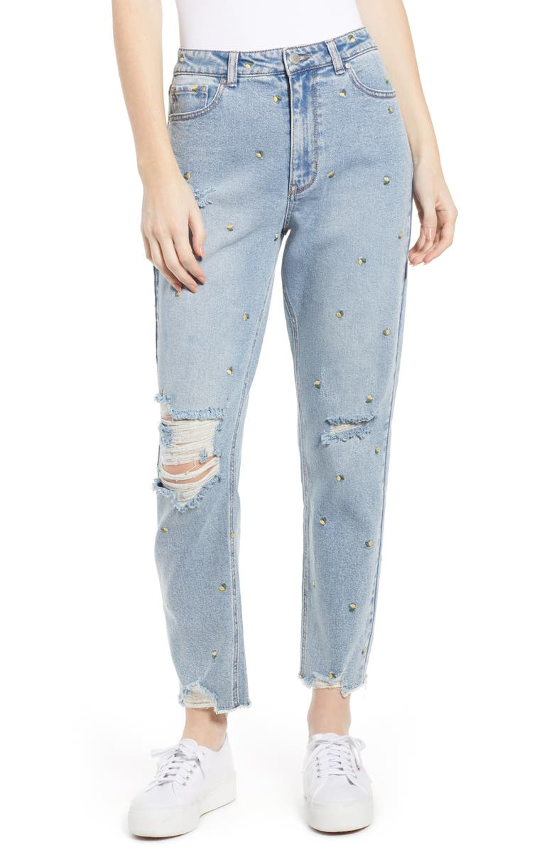 TINSEL Embroidered Ripped Mom Jeans, Main, color, 400