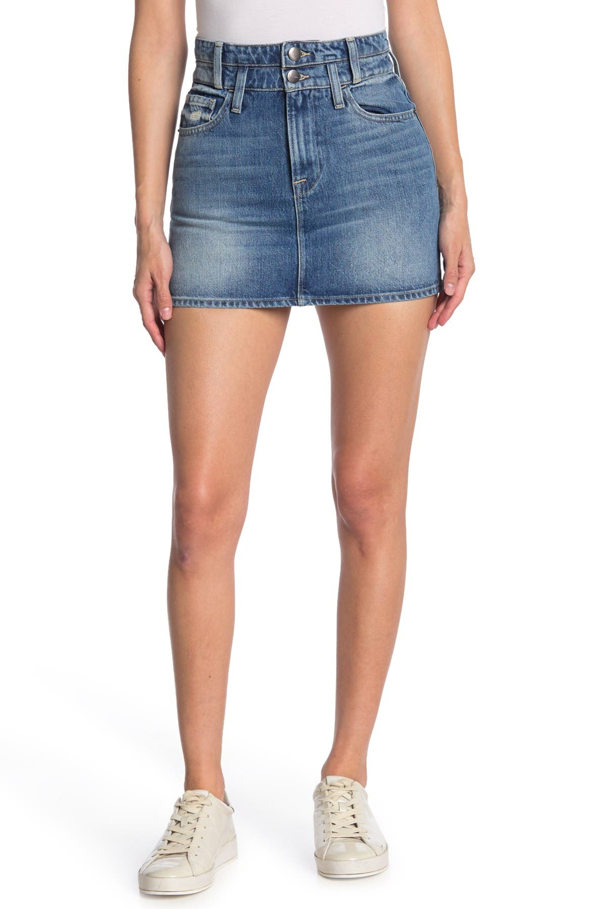 Image of FRAME Double Waistband Denim Mini Skirt