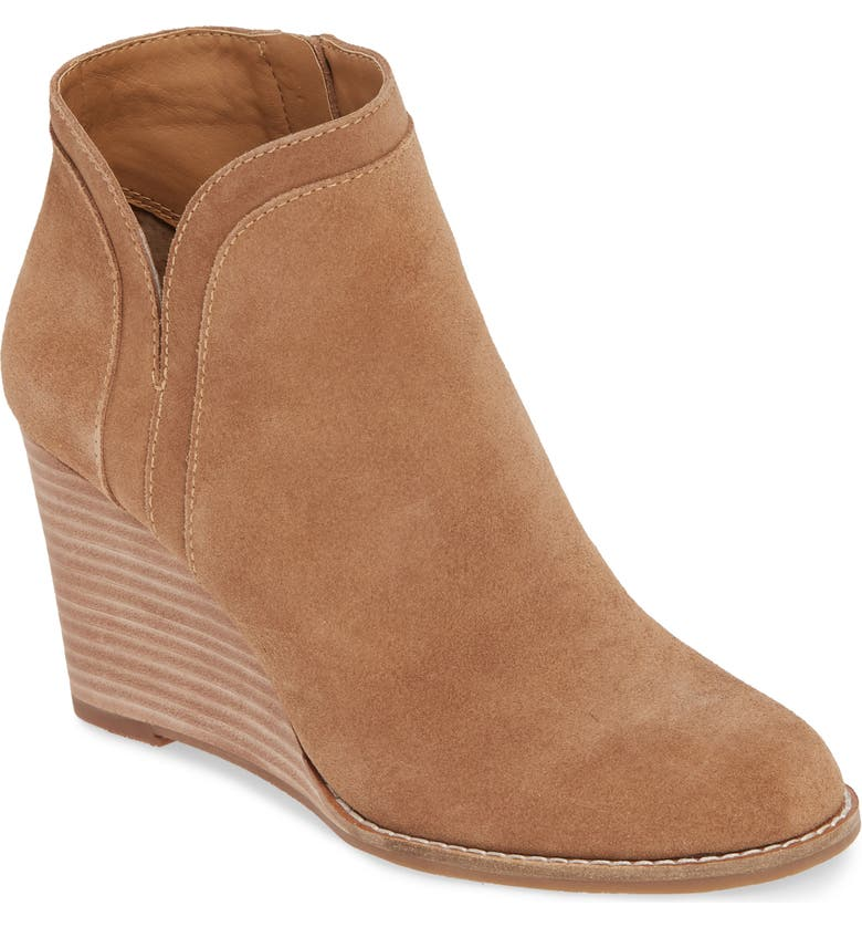 LUCKY BRAND Yimina Wedge Bootie, Main, color, SESAME SUEDE