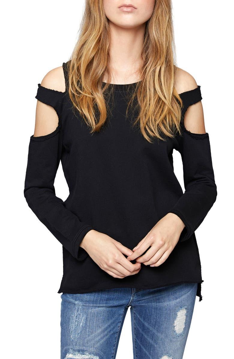 SANCTUARY Park Slope Cold Shoulder Sweatshirt, Main, color, 001