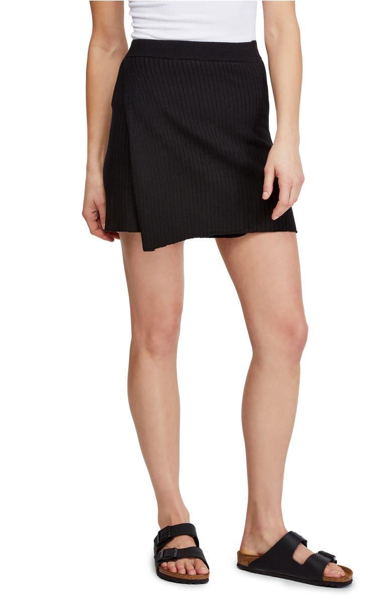 FREE PEOPLE Mod Faux Wrap Miniskirt, Main, color, BLACK