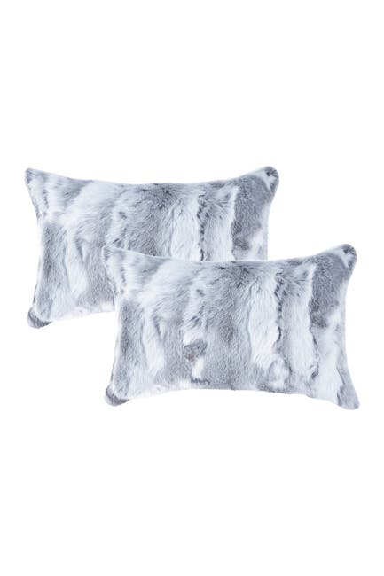 "Image of Natural Genuine Rabbit Fur Pillow - Set of 2 - 12"" x 20"" - Grey"
