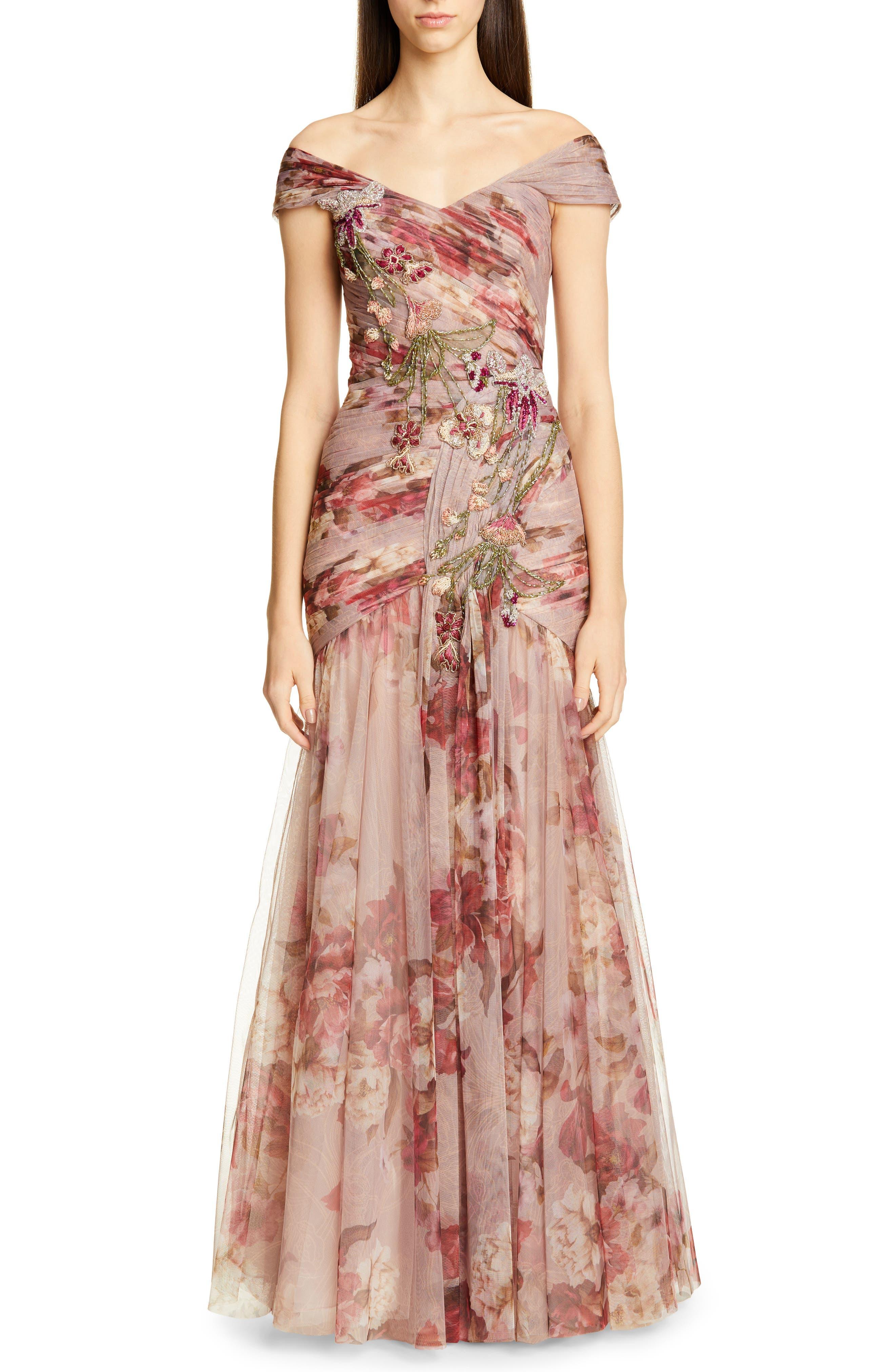 Patbo Bead Embellished Floral Print Off The Shoulder Gown, US / 40 BR - Purple