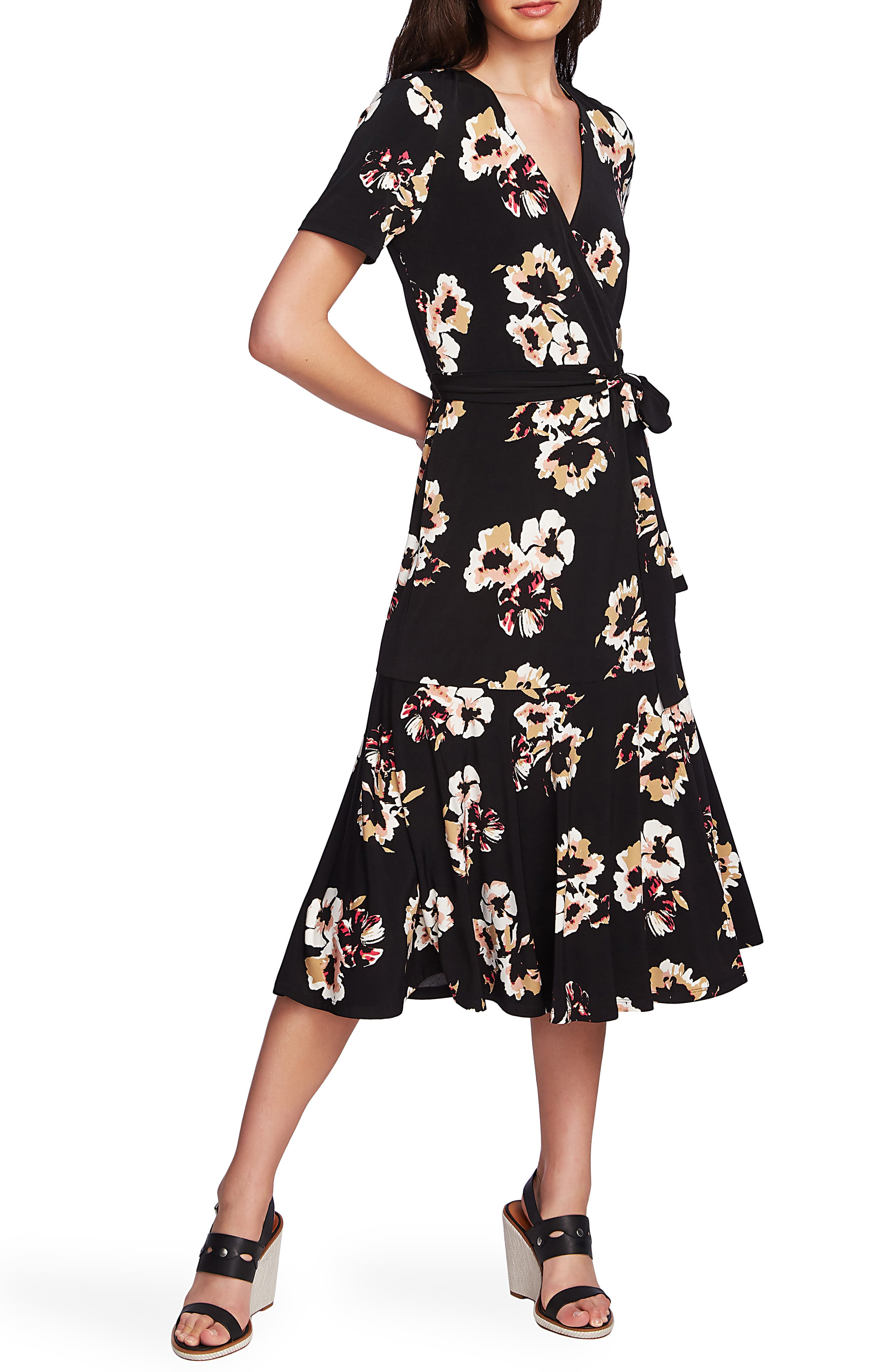 1.state Floral Mirage Wrap Front Dress, Green