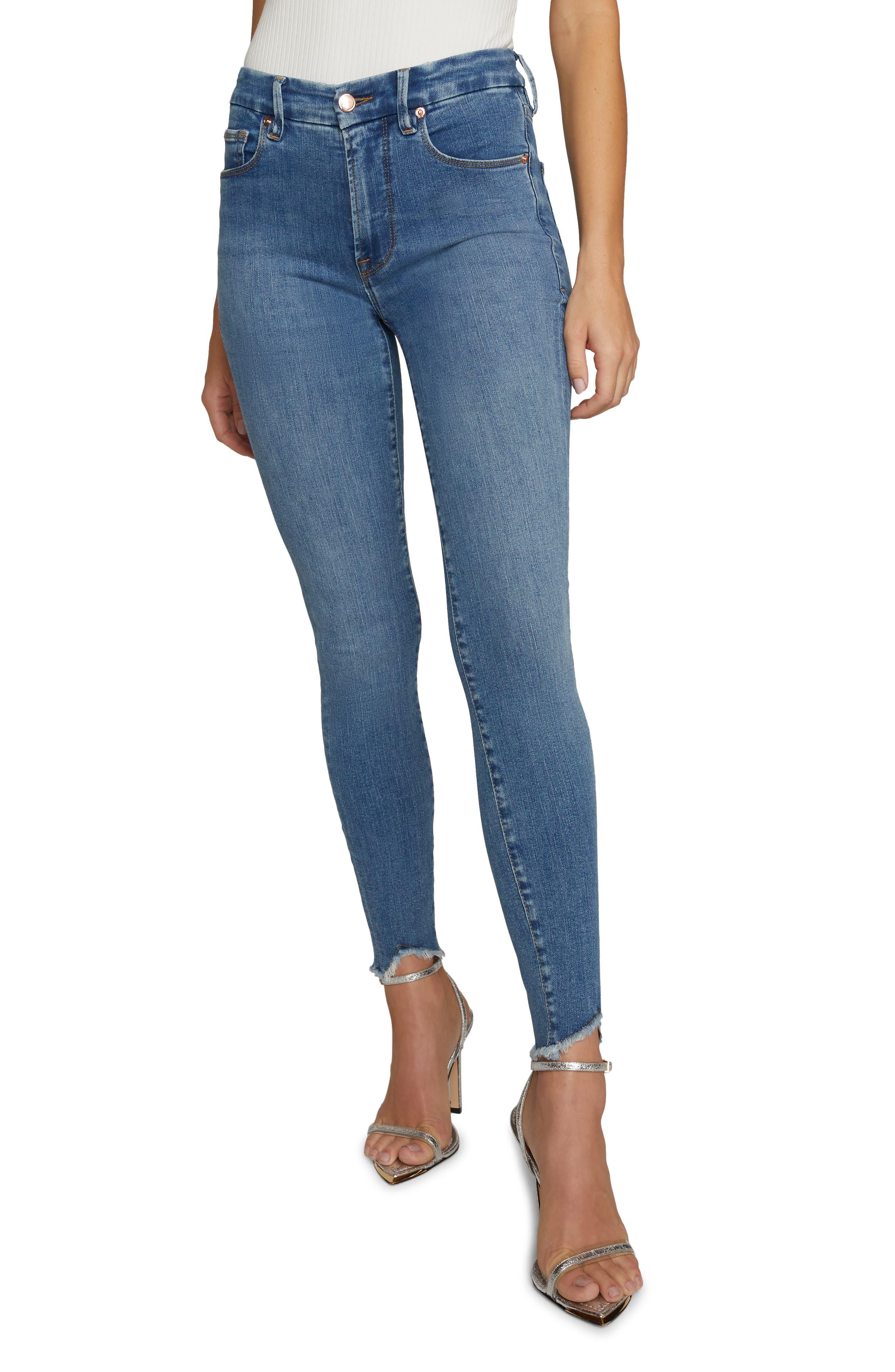 Women's Good American Good Legs High Waist Jagged Fray Hem Skinny Jeans