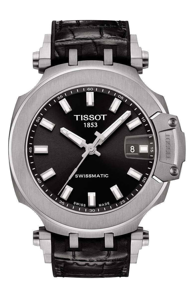 TISSOT T-Sport Automatic Leather Strap Watch, 48mm, Main, color, BLACK / SILVER