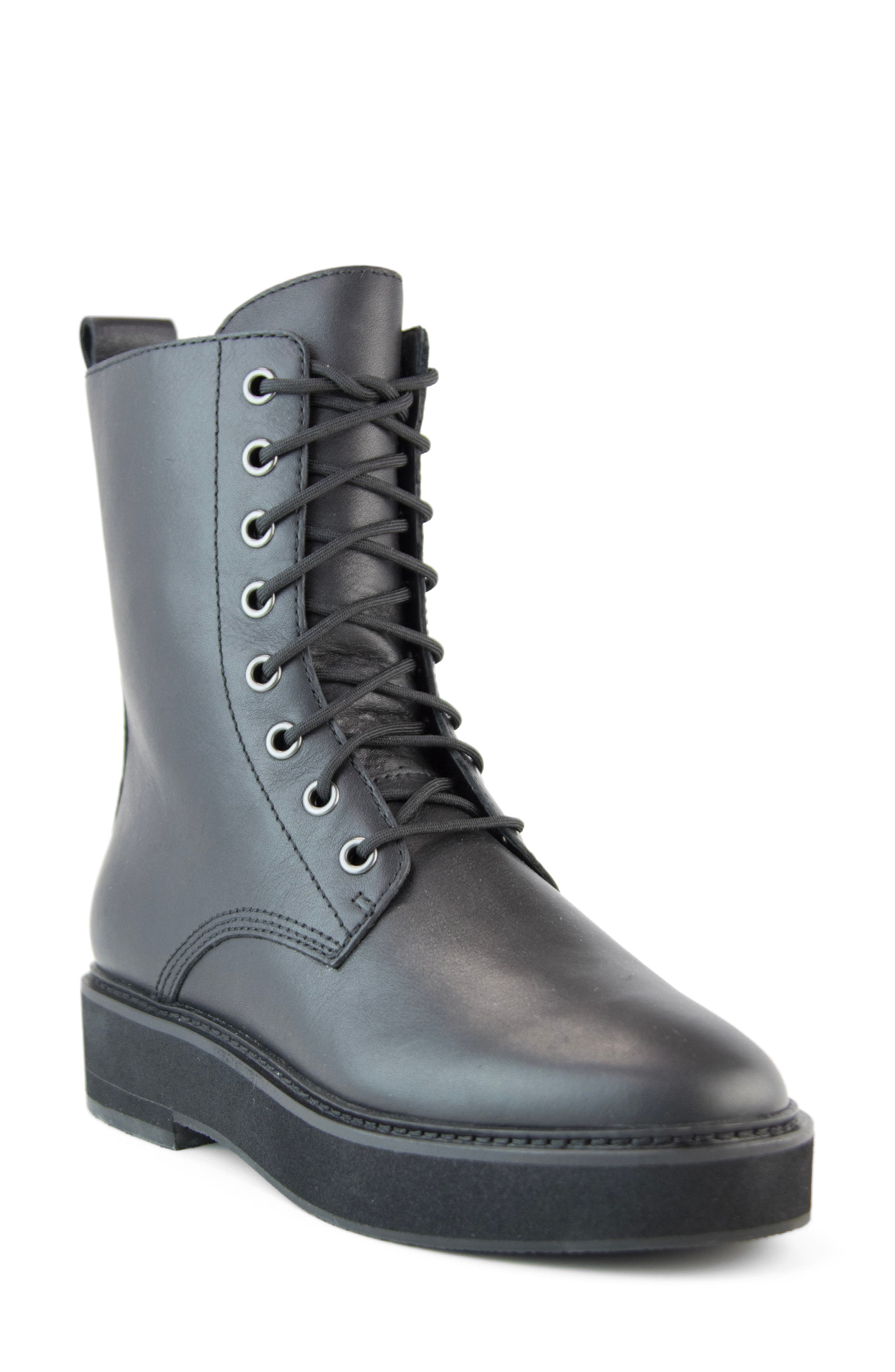 Women s Eileen Fisher Nelly Leather Combat Boot E5310