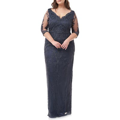 Plus Size Js Collections Scallop V-Neck Embroidered Mesh Gown, Blue
