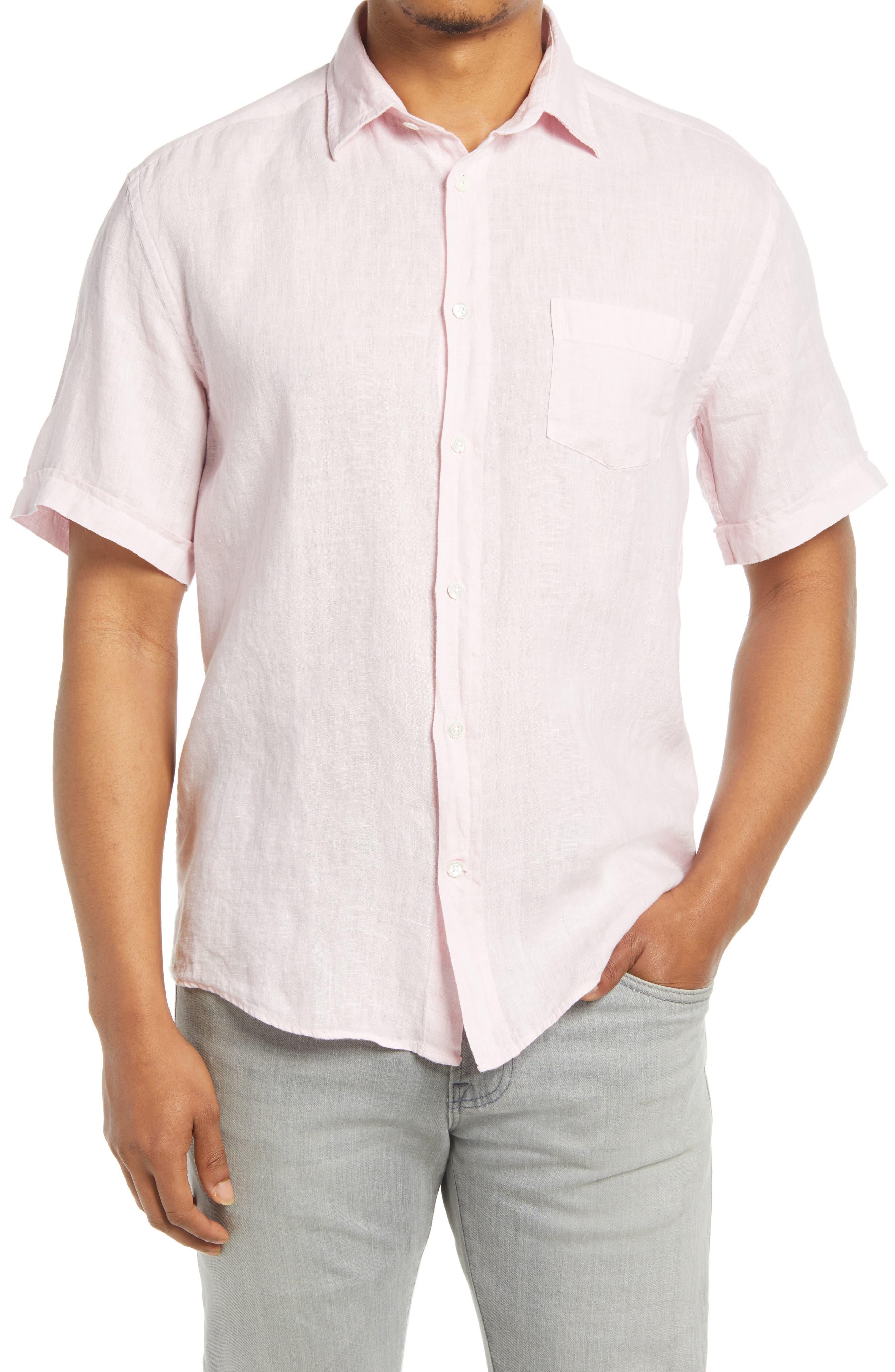Short Sleeve Linen Button-Up Shirt