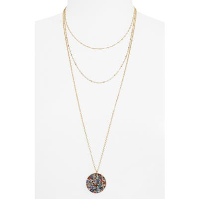 Bp. Triple Layer Stone Pave Coin Necklace
