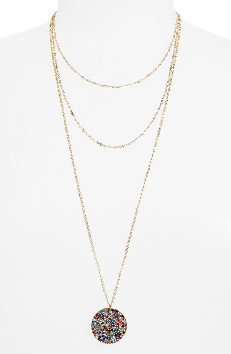 BP. Triple Layer Stone Pavé Coin Necklace, Main, color, MULTI- GOLD