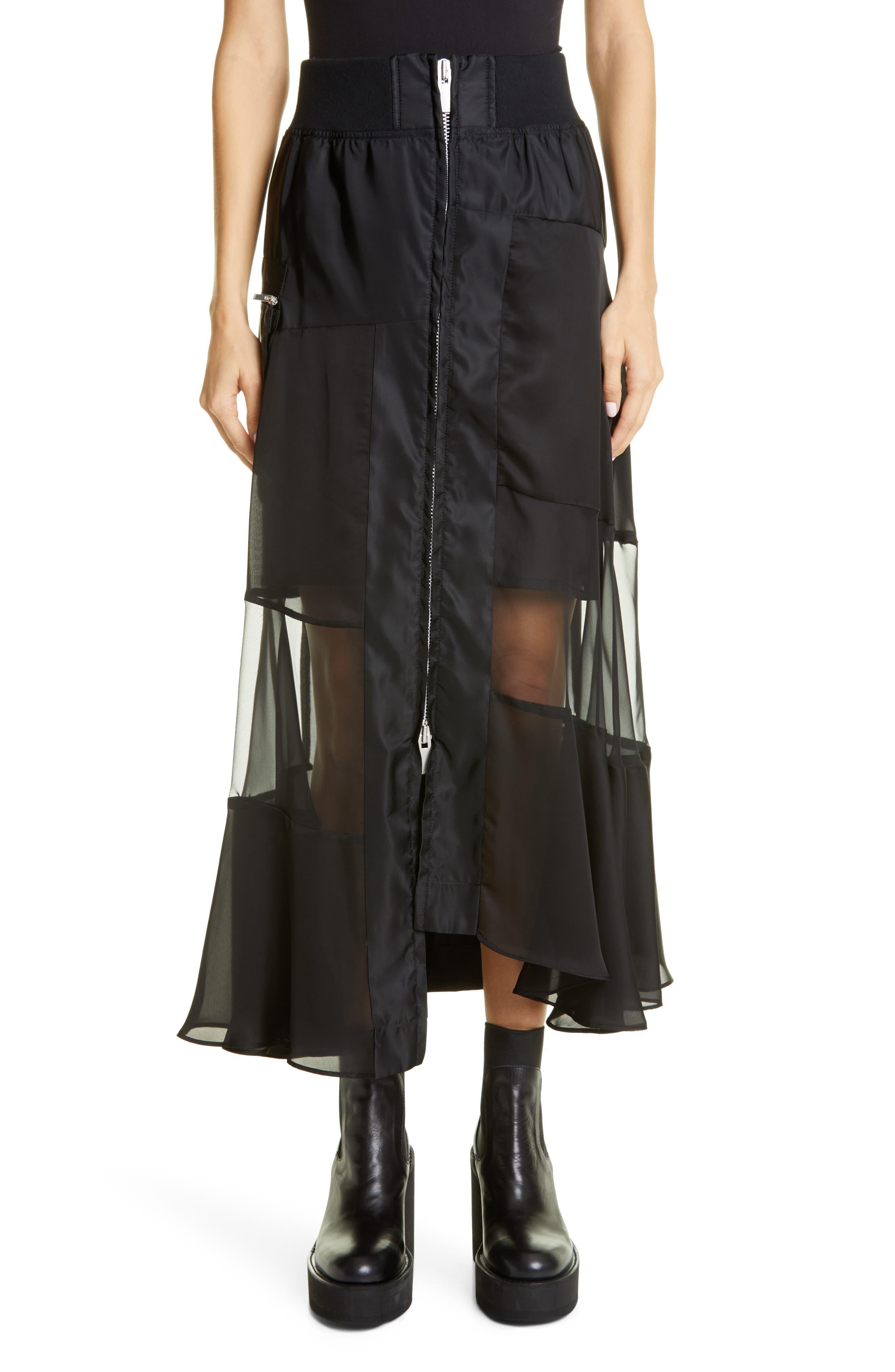 Sacai Asymmetrical Front Zip Skirt | Nordstrom