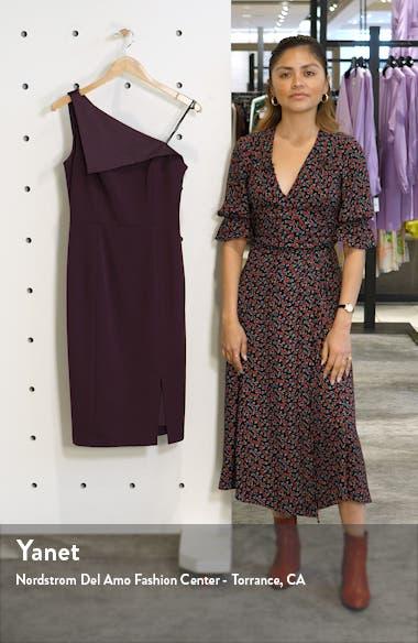 One-Shoulder Crepe Sheath Dress, sales video thumbnail
