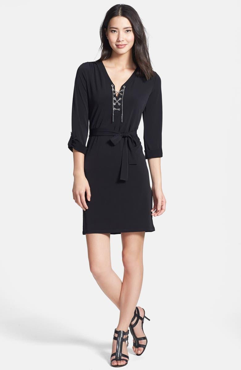 MICHAEL MICHAEL KORS Chain Lace Jersey Dress, Main, color, 001
