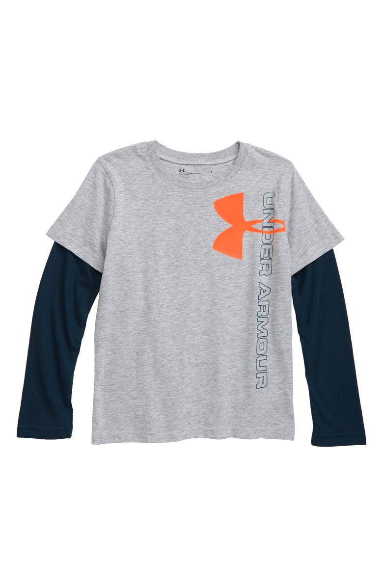 UNDER ARMOUR Vertical Logo Layered T-Shirt, Main, color, 050