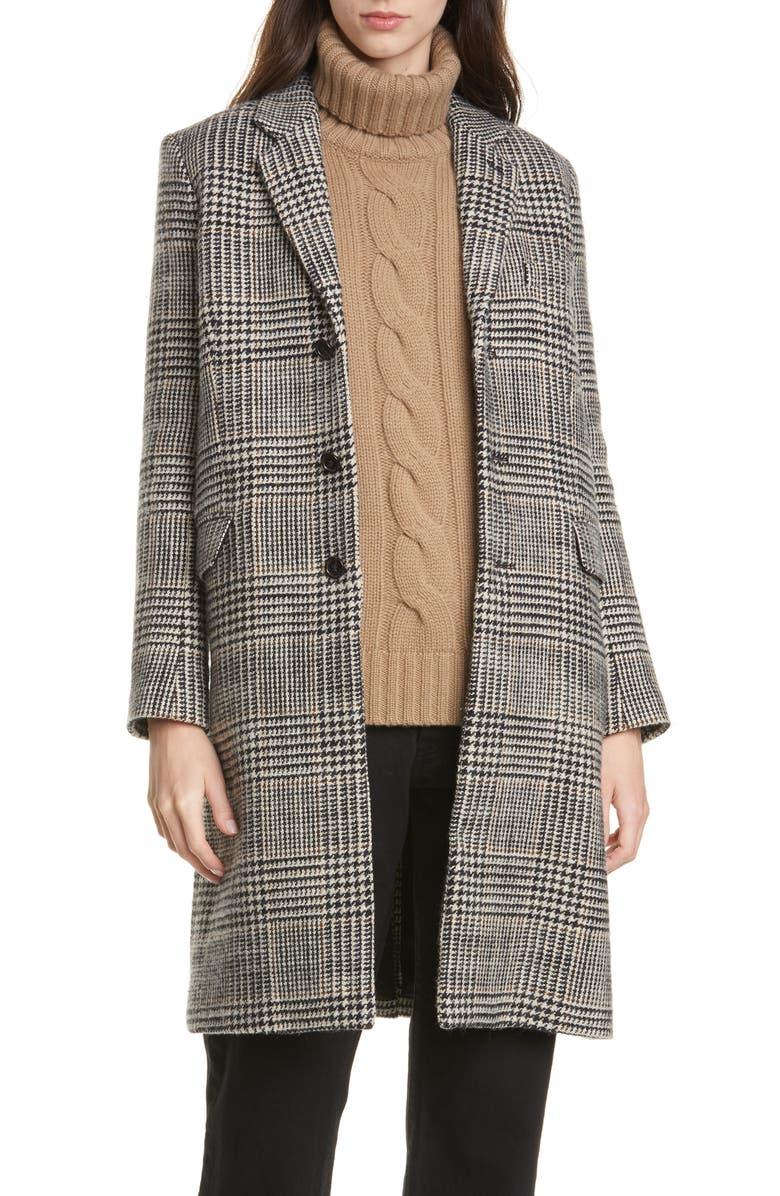 NILI LOTAN Rosalin Plaid Coat, Main, color, BLACK/ IVORY/ BROWN