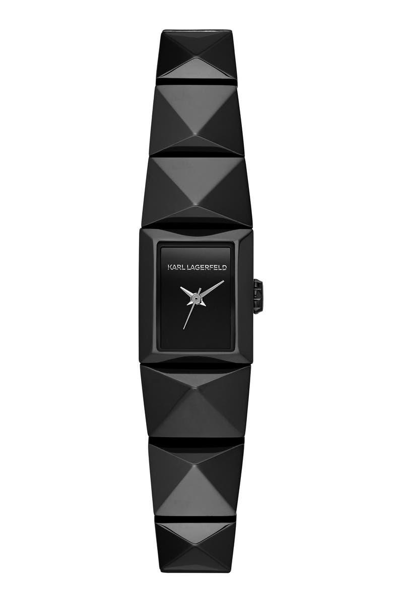 KARL LAGERFELD PARIS KARL LAGERFELD 'Mini Perspektive' Pyramid Bracelet Watch, 18mm x 21mm, Main, color, 001