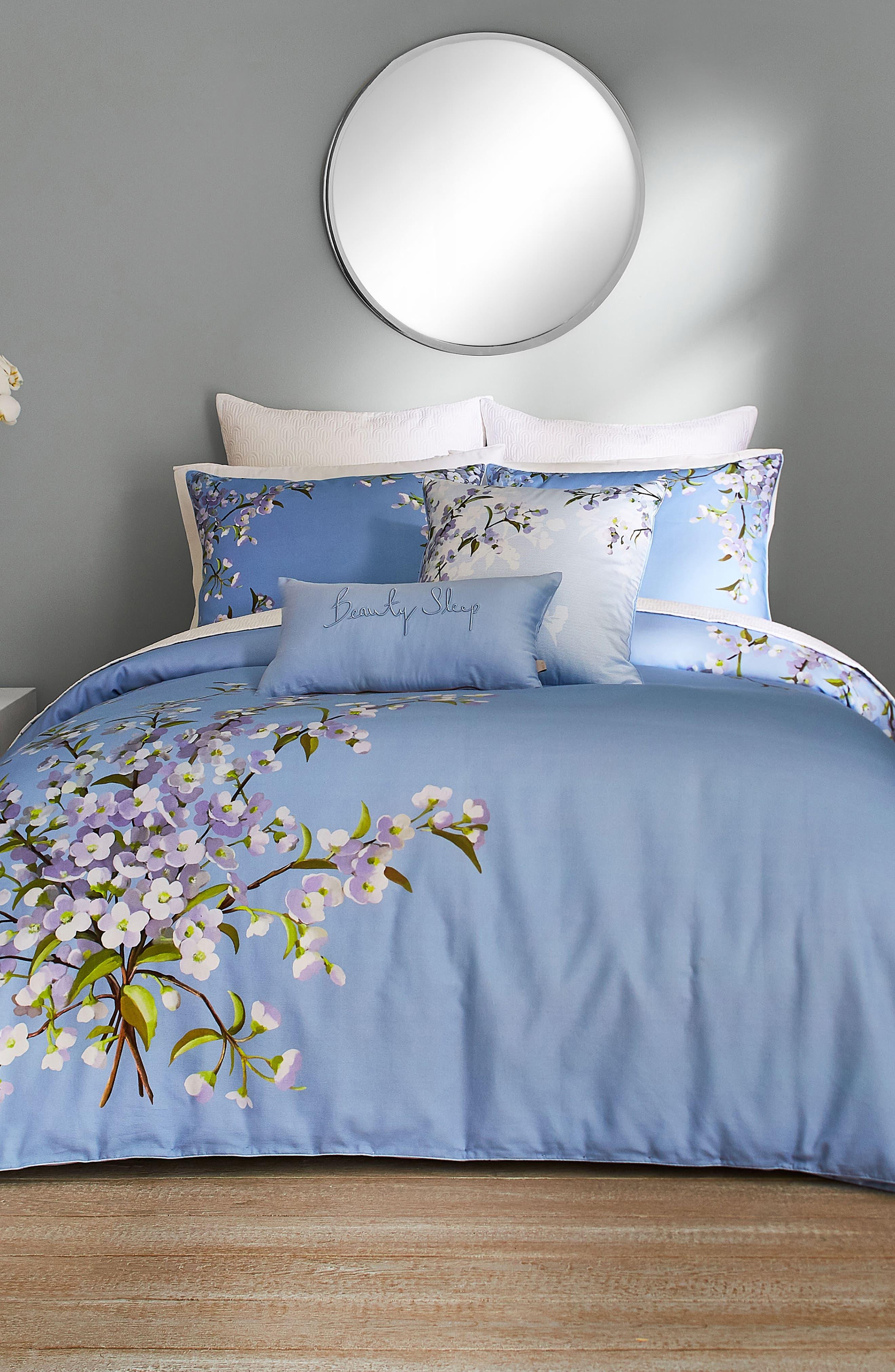 ,                             Graceful Comforter & Sham Set,                             Main thumbnail 1, color,                             BLUE