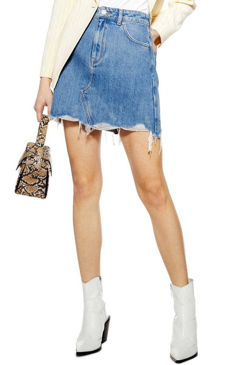 TOPSHOP Ripped Denim Miniskirt, Main, color, MID DENIM