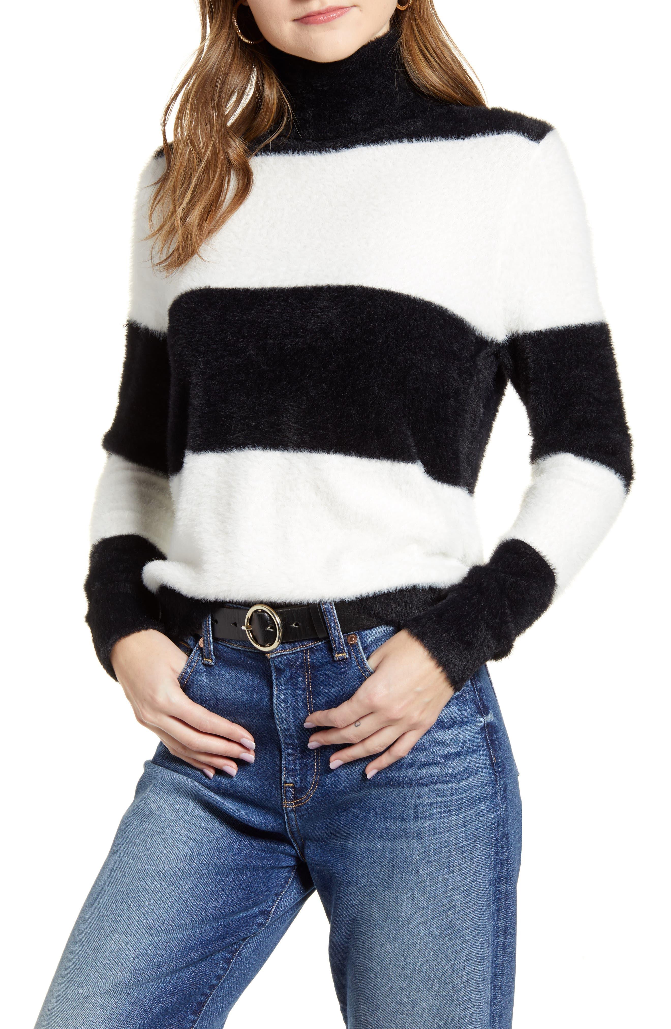 Image of Halogen Fuzzy Turtleneck Pullover