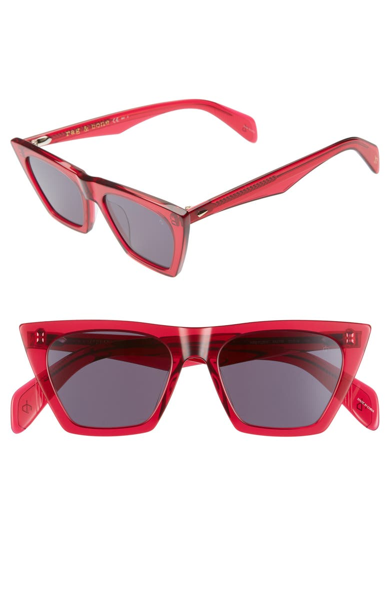 RAG & BONE 51mm Cat Eye Sunglasses, Main, color, FUCHSIA