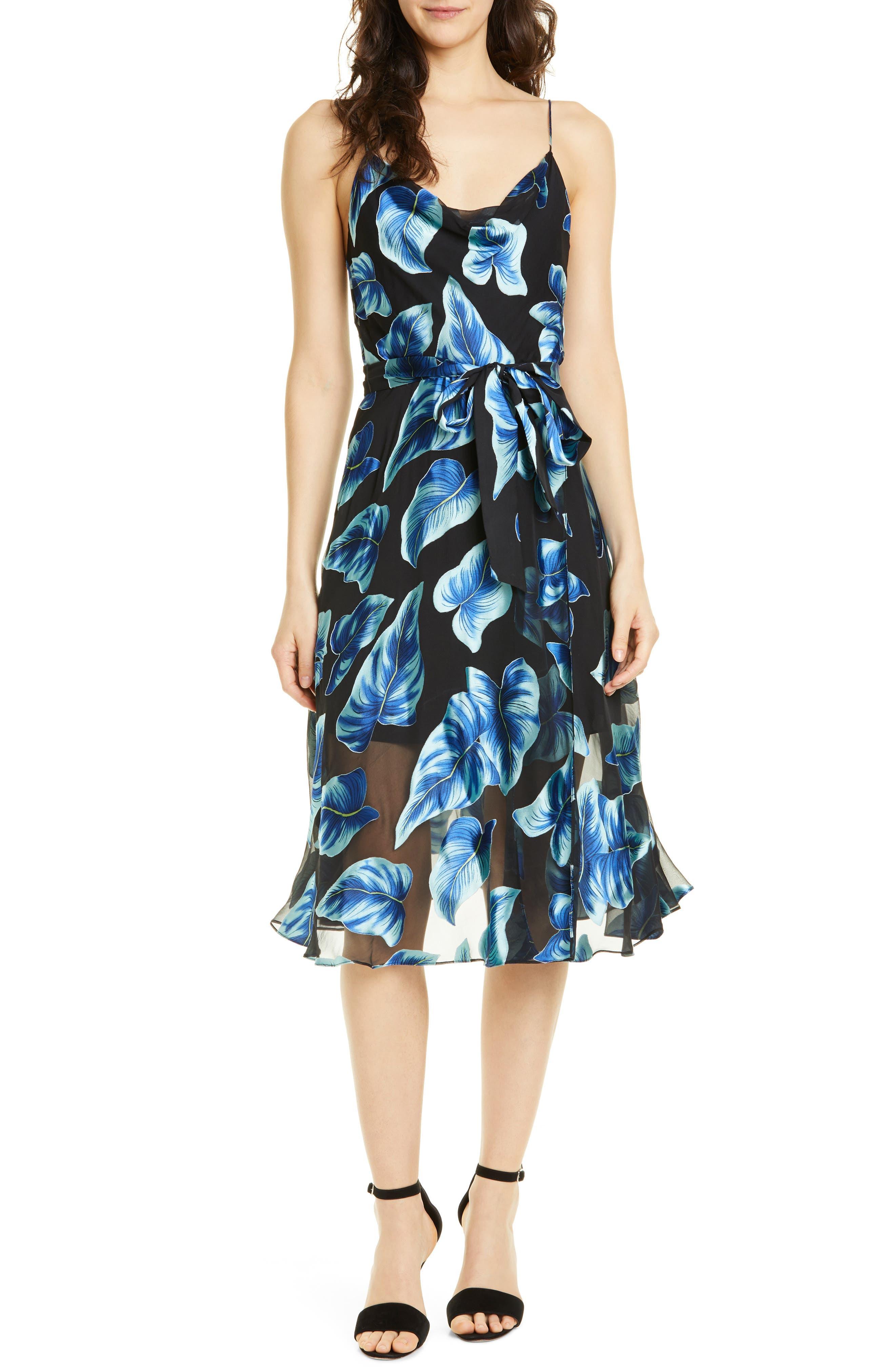 Alice + Olivia Nan Floral Drape Detail Midi Dress, Blue
