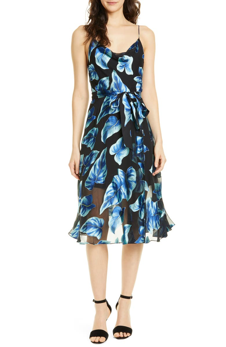 ALICE + OLIVIA Nan Floral Drape Detail Midi Dress, Main, color, 464