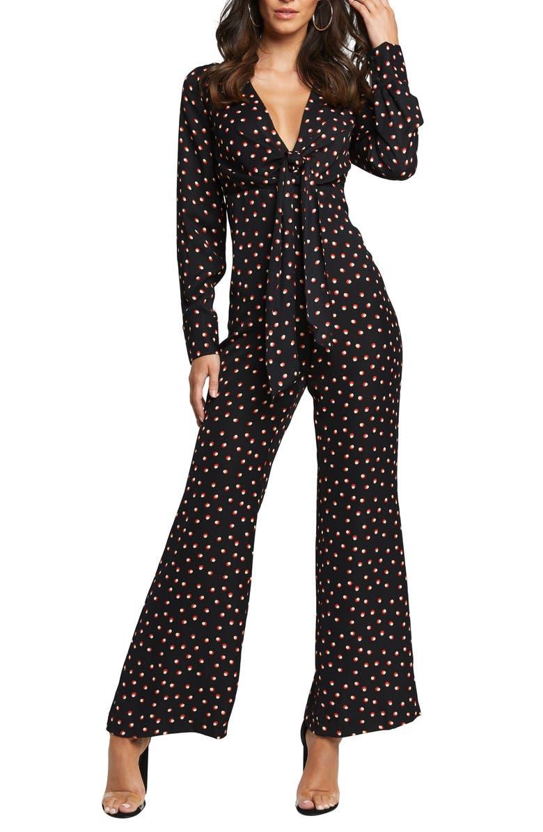 BARDOT Dot Print Long Sleeve Tie Bodice Jumpsuit, Main, color, 001