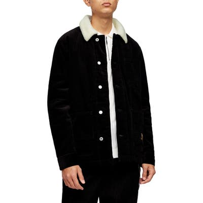 Topman Borg Faux Fleece Lined Corduroy Chore Jacket, Black