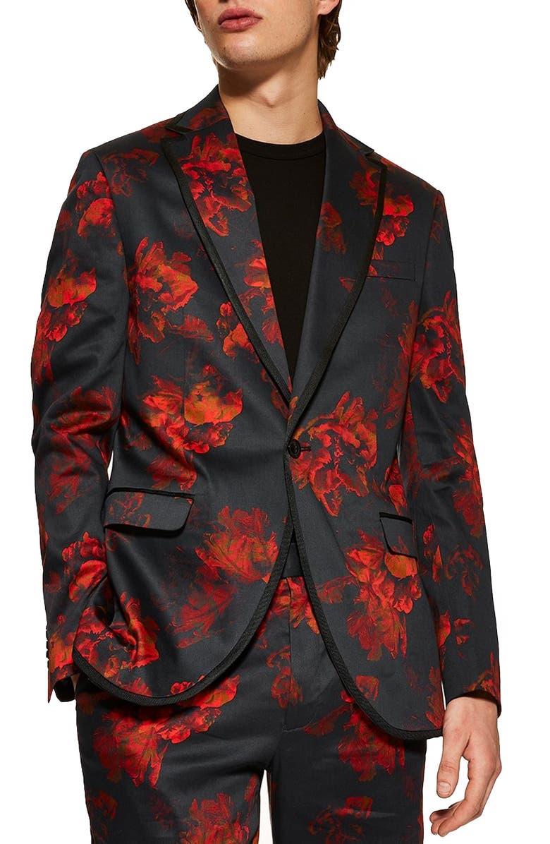 TOPMAN Slim Fit Floral Suit Jacket, Main, color, BLACK MULTI