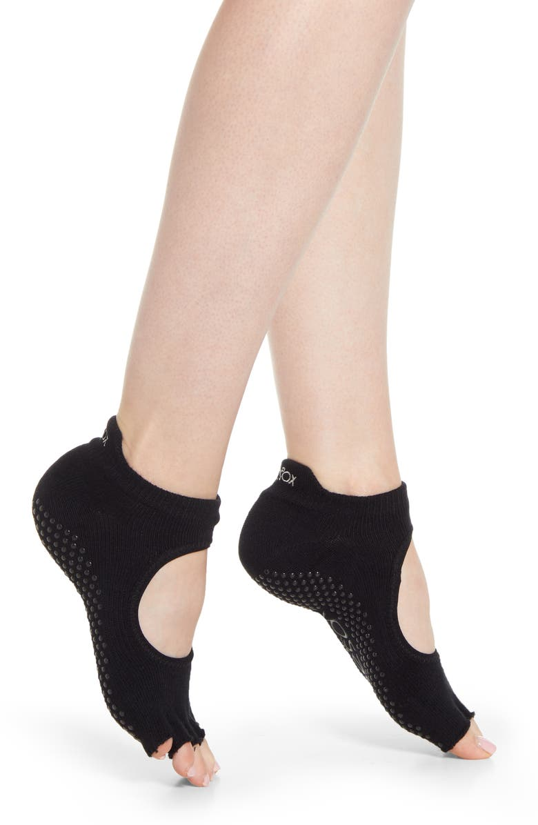 TOESOX Bellarina Half Toe Gripper Socks, Main, color, BLACK
