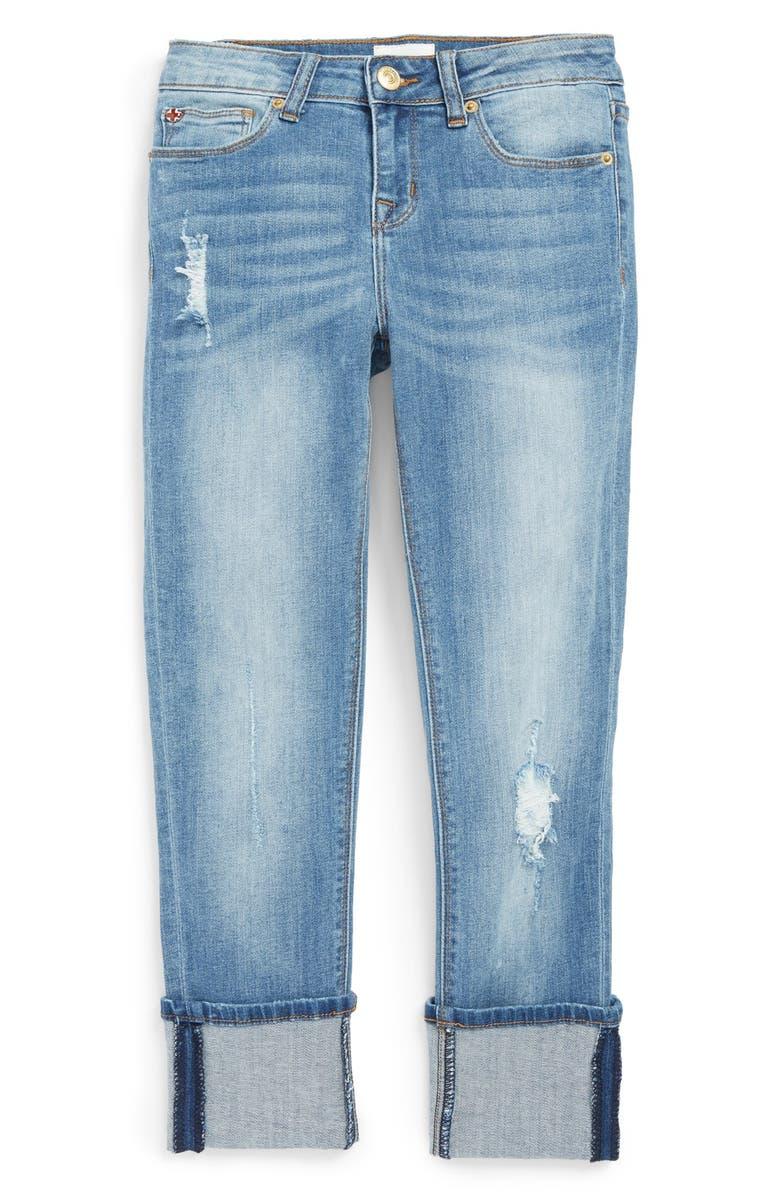 HUDSON KIDS Distressed Crop Jeans, Main, color, 445