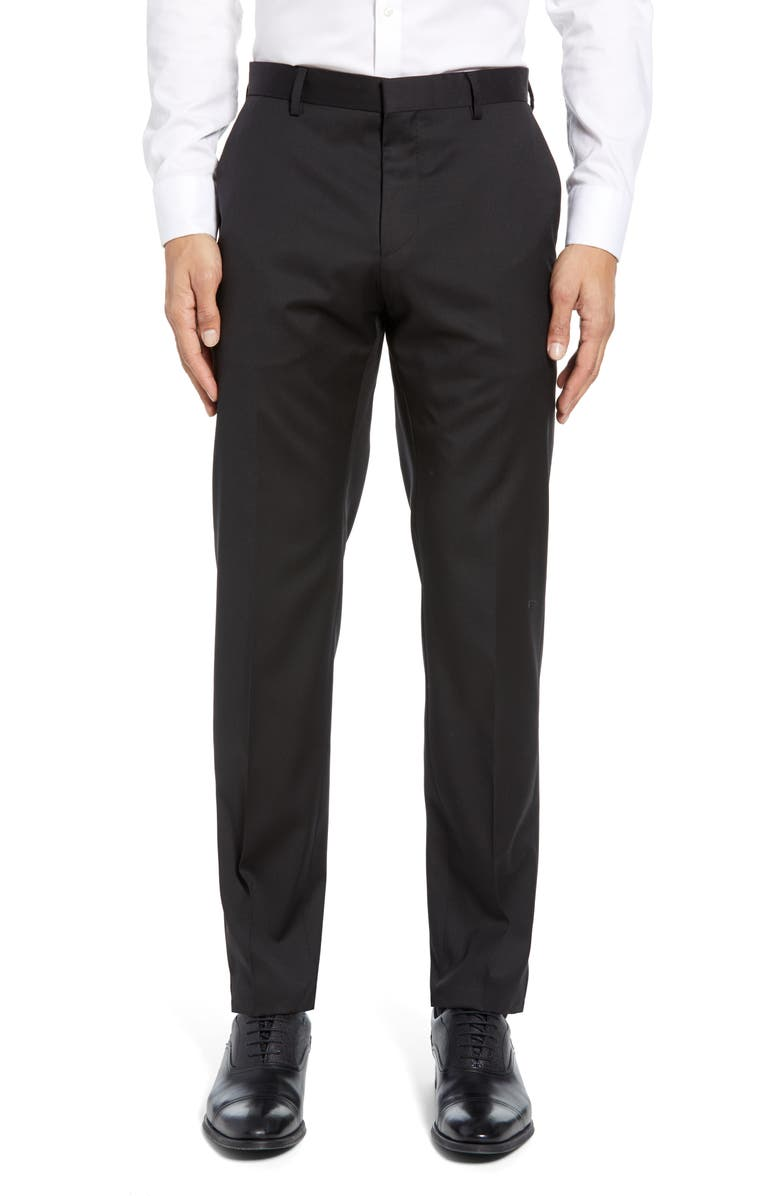 BOSS Gibson CYL Flat Front Solid Slim Fit Wool Dress Pants, Main, color, 001