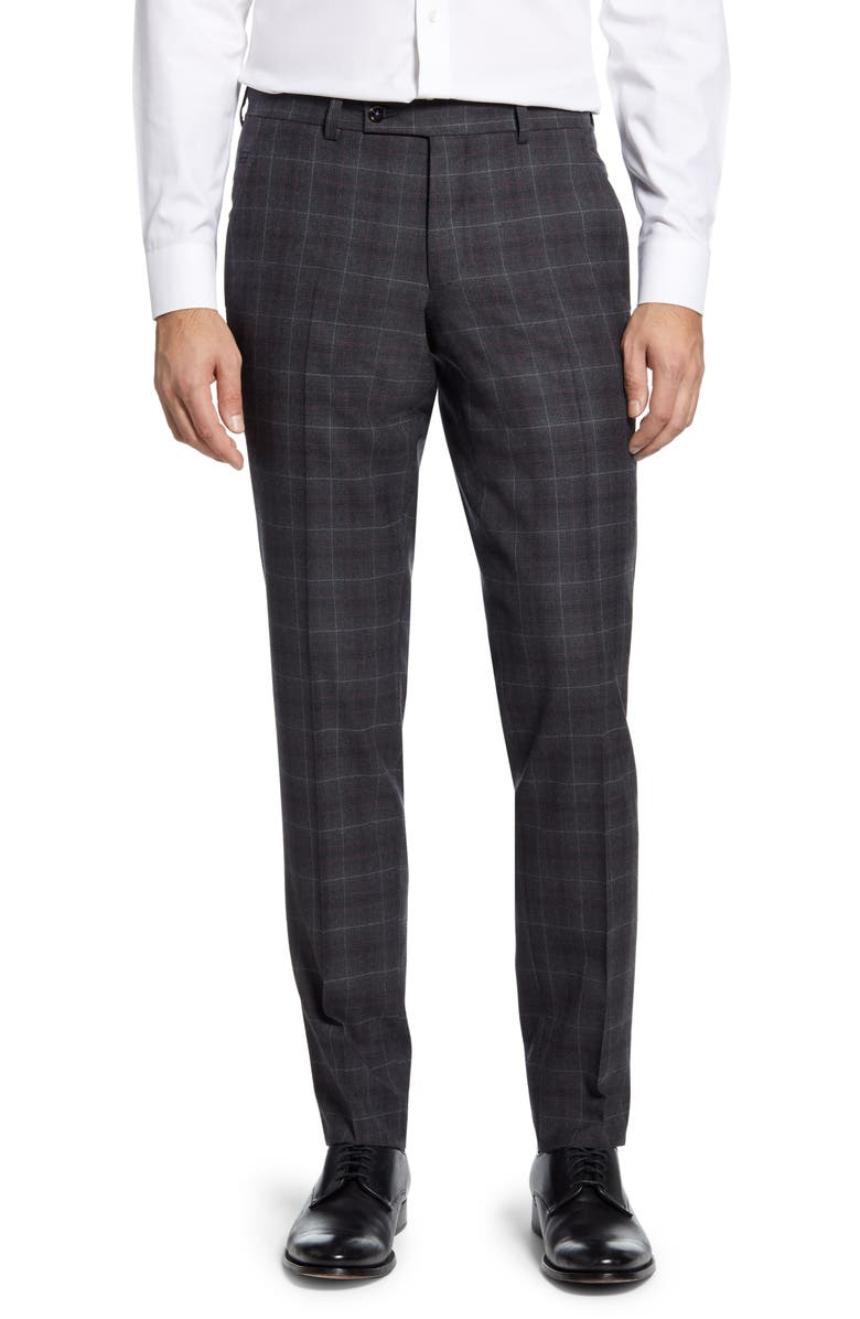 TED BAKER LONDON Jerome Flat Front Plaid Wool Dress Pants, Main, color, GREY